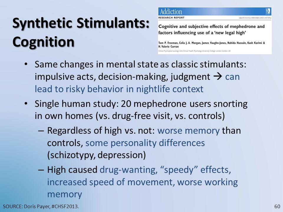 Synthetic Stimulants: Cognition