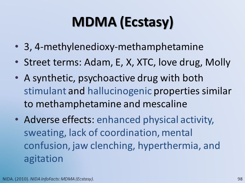 MDMA (Ecstasy) 3, 4-methylenedioxy-methamphetamine