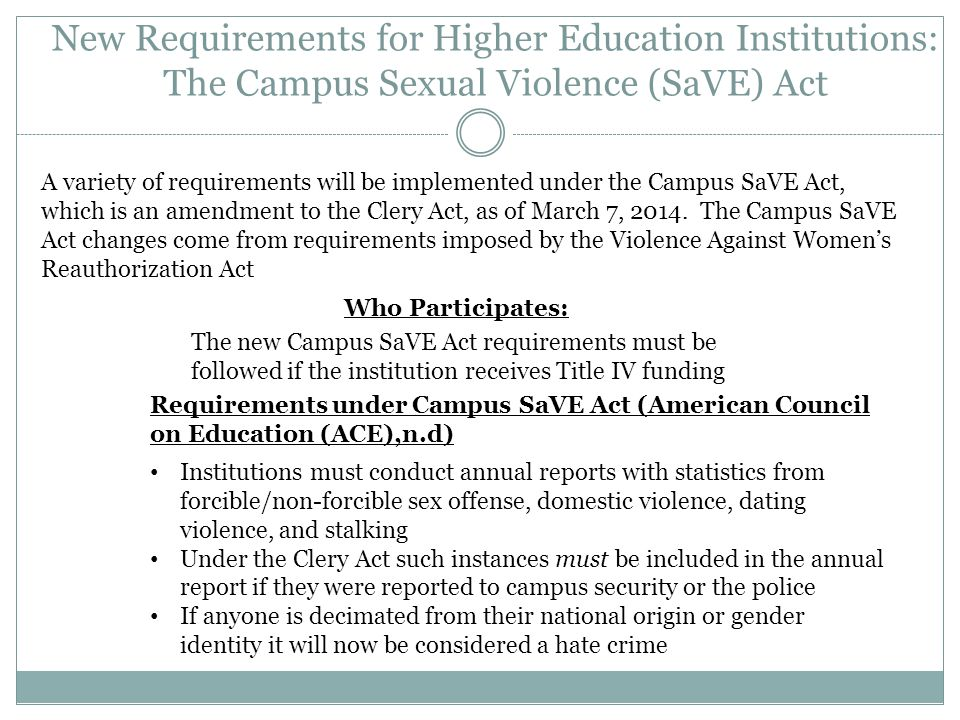 New Requirements for Higher Education Institutions: The Campus Sexual Violence (SaVE) Act