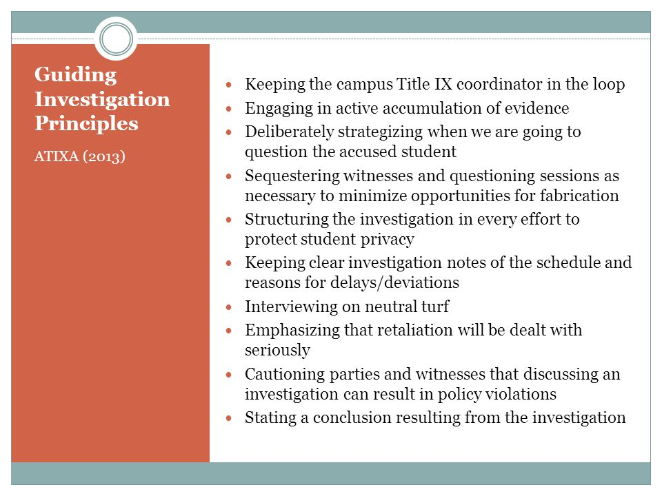 Guiding Investigation Principles