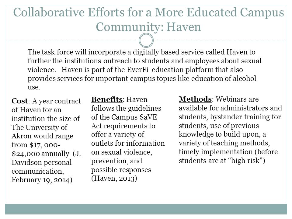 Collaborative Efforts for a More Educated Campus Community: Haven
