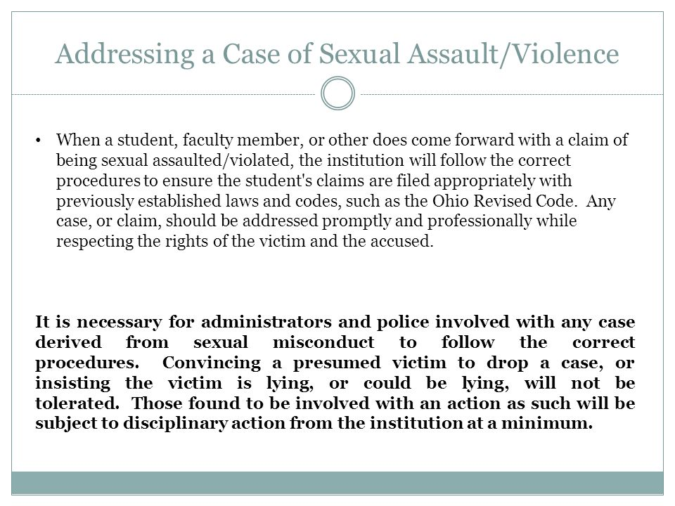 Addressing a Case of Sexual Assault/Violence