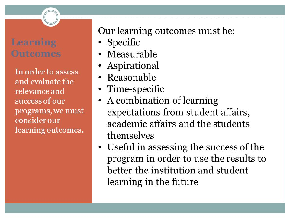 Our learning outcomes must be: Specific Measurable Aspirational