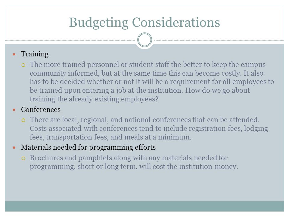 Budgeting Considerations
