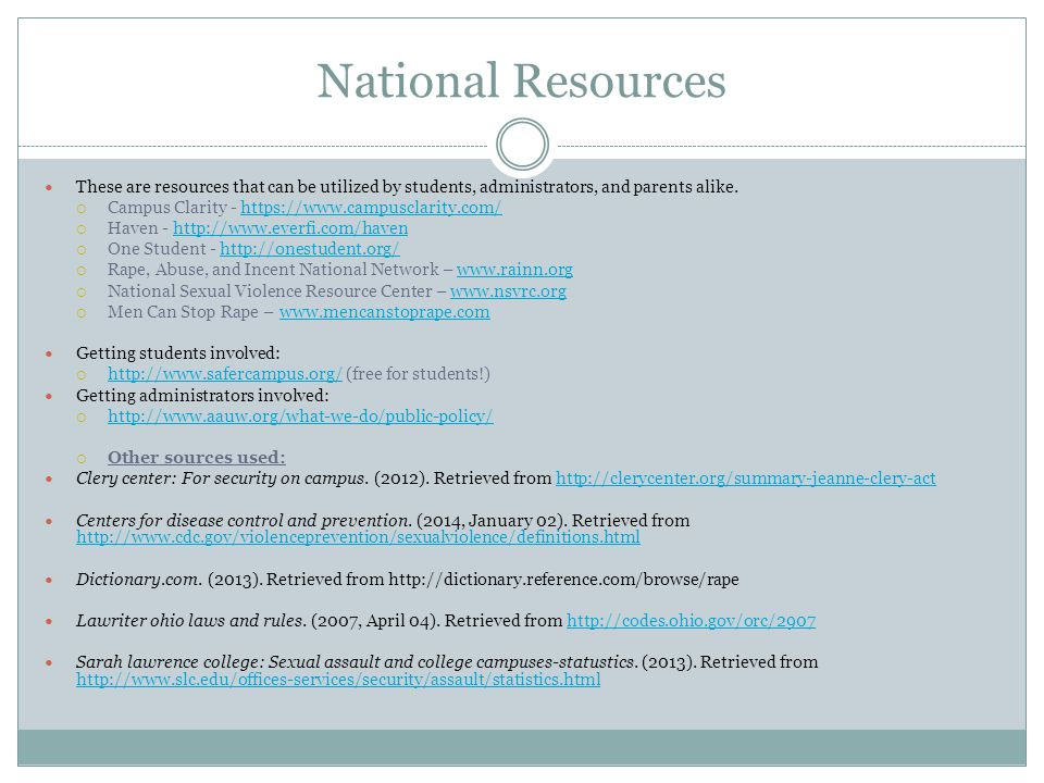 National Resources These are resources that can be utilized by students, administrators, and parents alike.