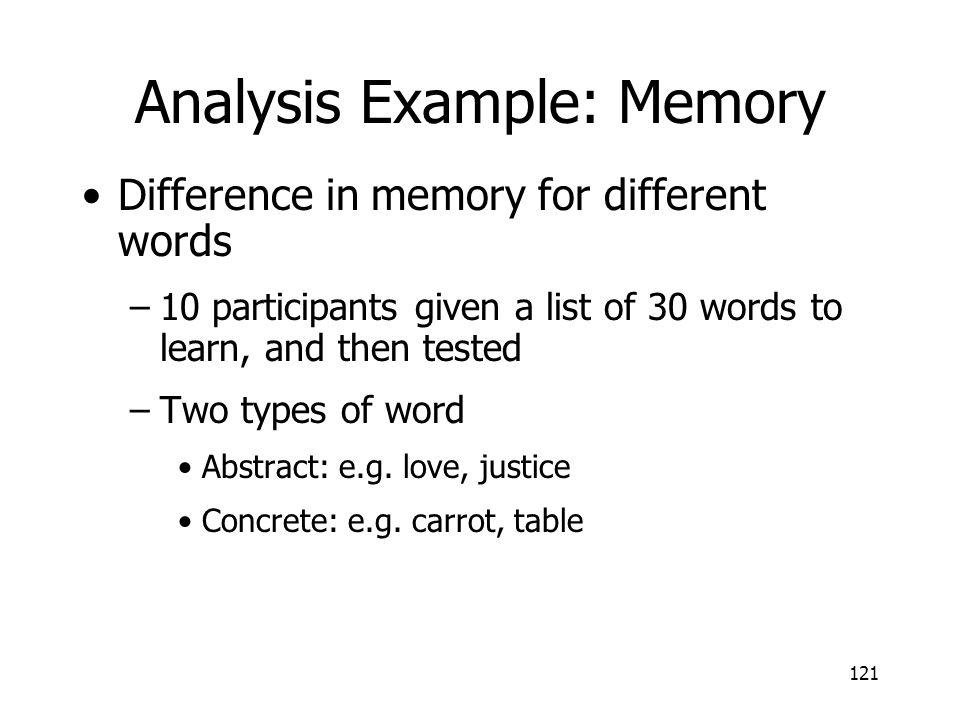 Analysis Example: Memory