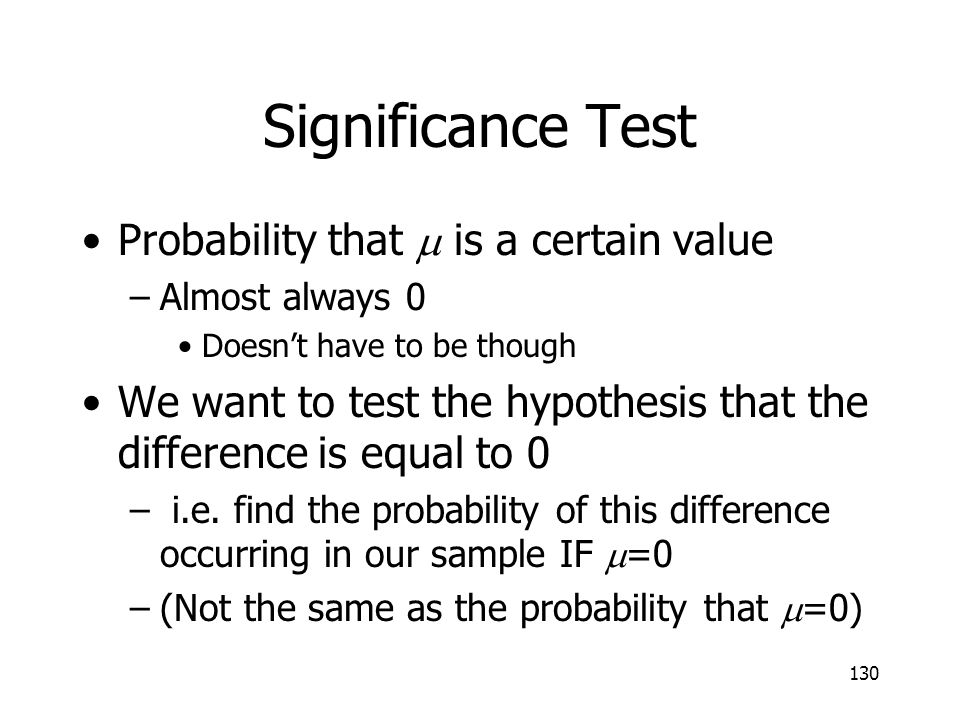 Significance Test Probability that m is a certain value