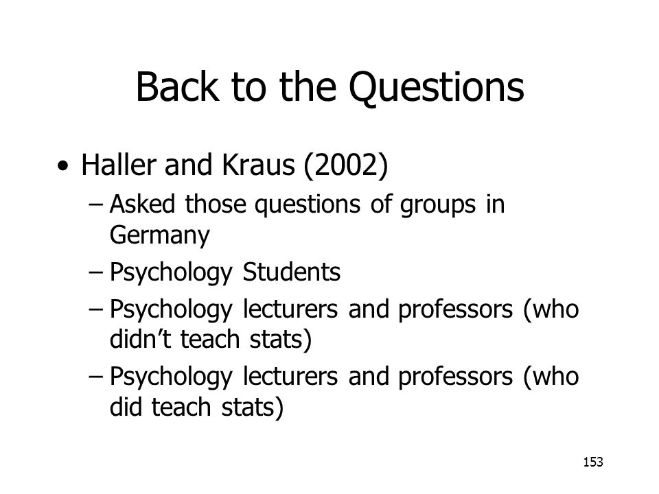 Back to the Questions Haller and Kraus (2002)