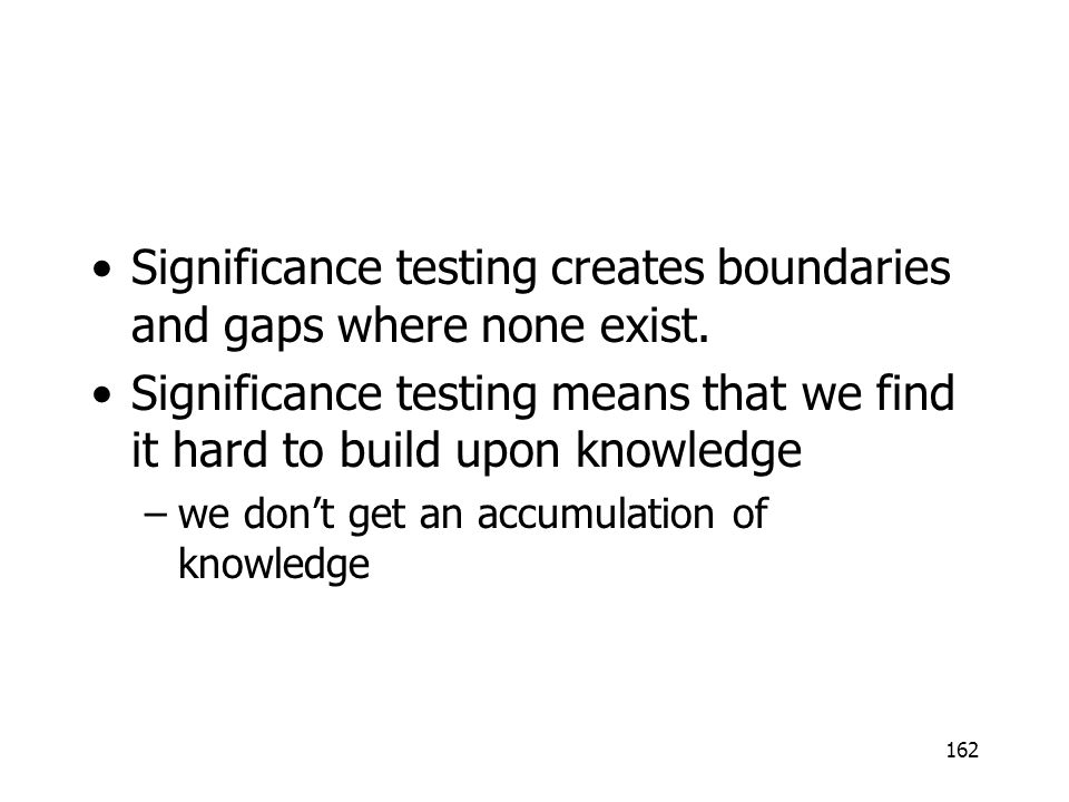 Significance testing creates boundaries and gaps where none exist.