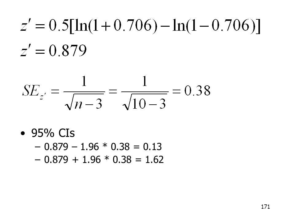 95% CIs 0.879 – 1.96 * 0.38 = 0.13 0.879 + 1.96 * 0.38 = 1.62