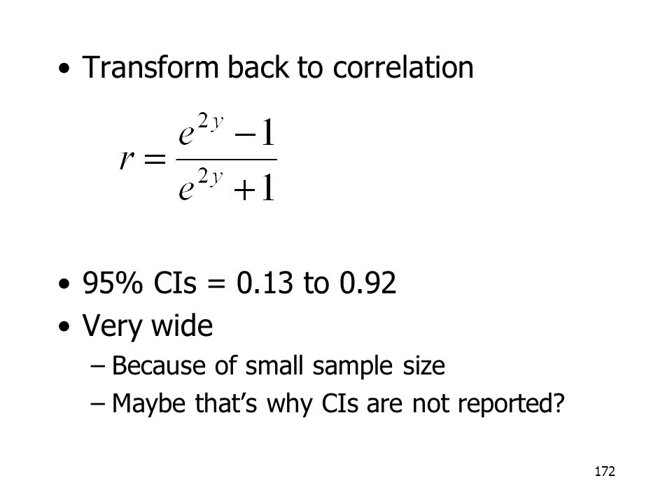 Transform back to correlation