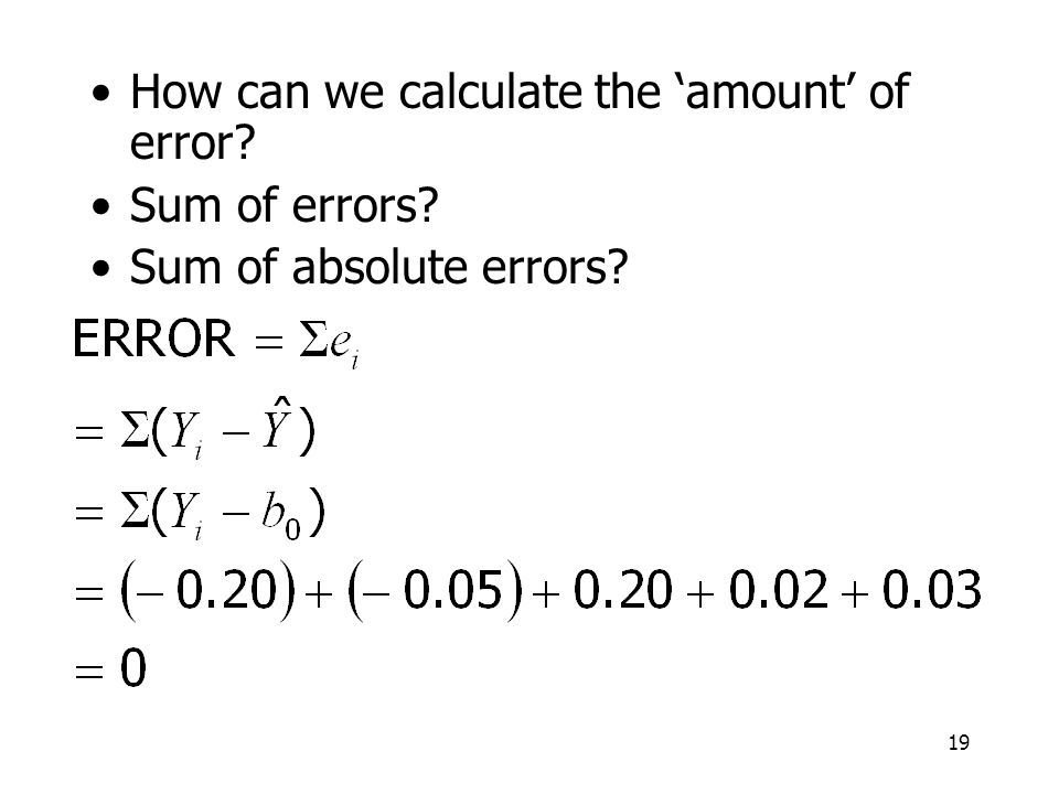 How can we calculate the 'amount' of error