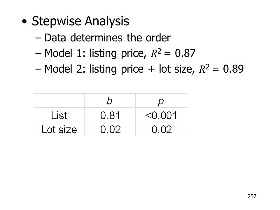 Stepwise Analysis Data determines the order