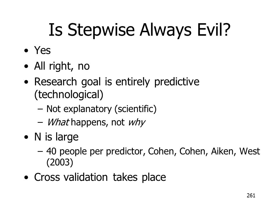 Is Stepwise Always Evil