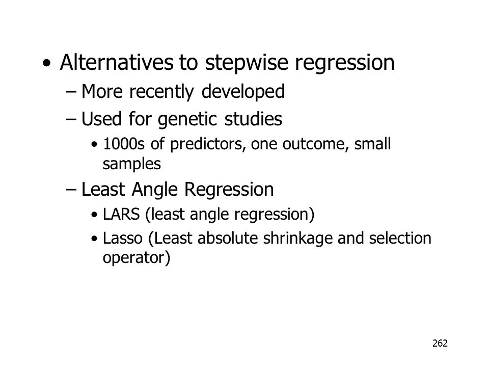 Alternatives to stepwise regression