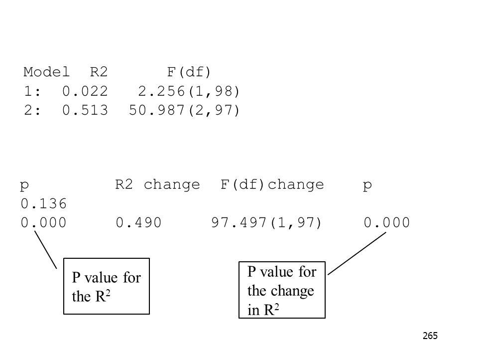 Model R2 F(df) 1: 0.022 2.256(1,98) 2: 0.513 50.987(2,97) p R2 change F(df)change p.