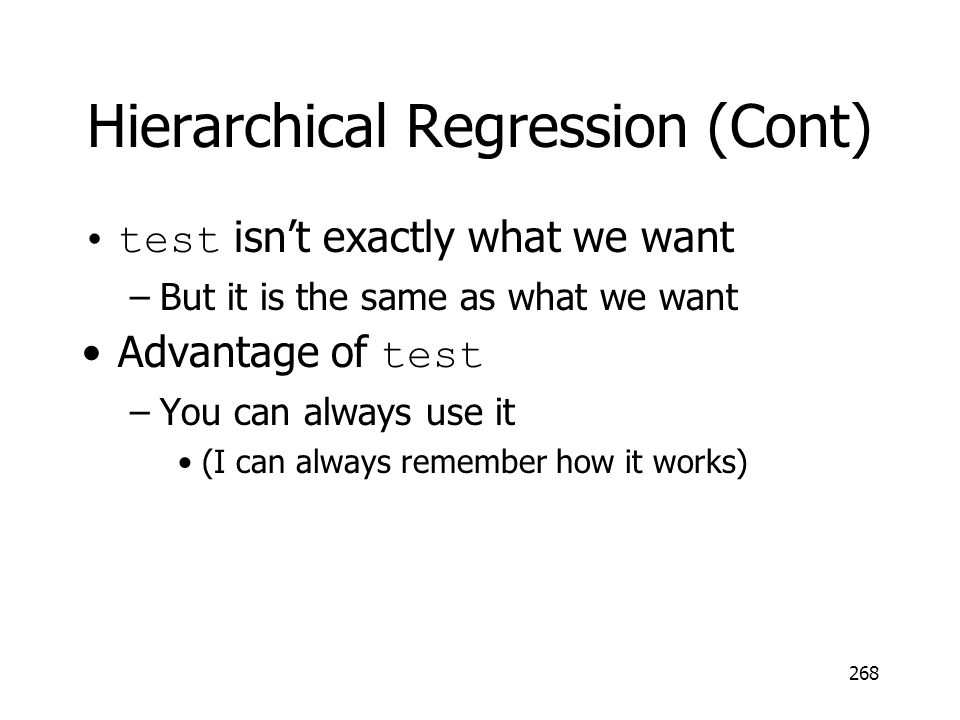 Hierarchical Regression (Cont)