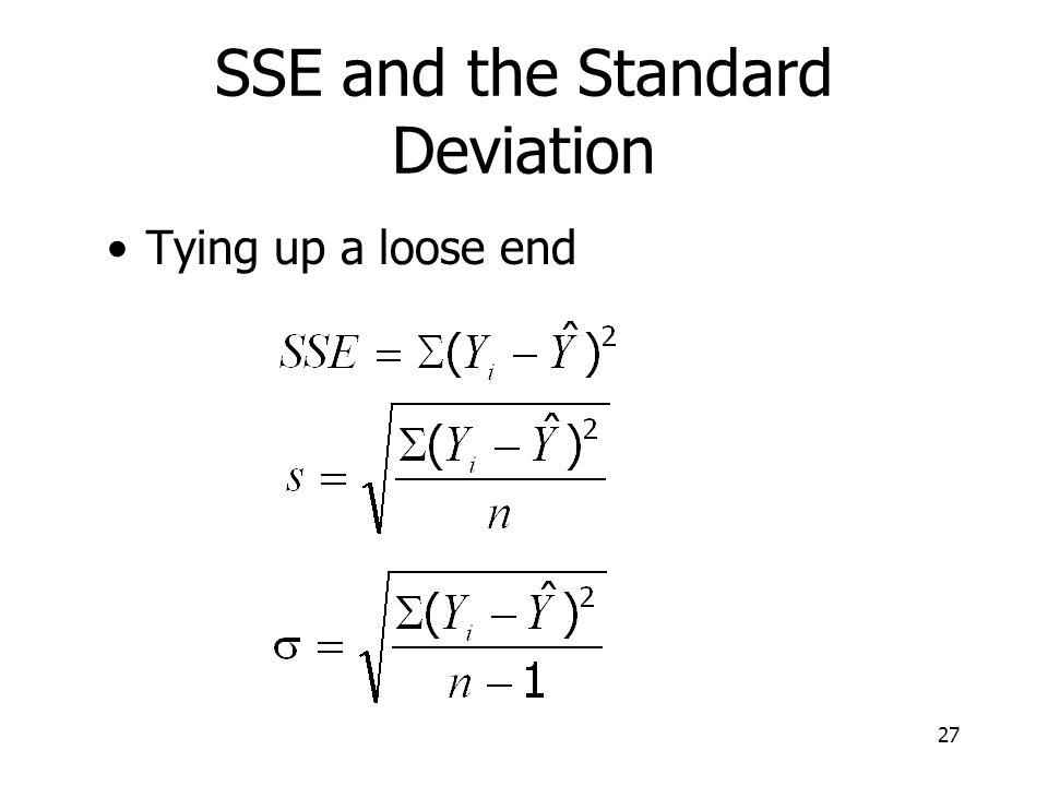 SSE and the Standard Deviation