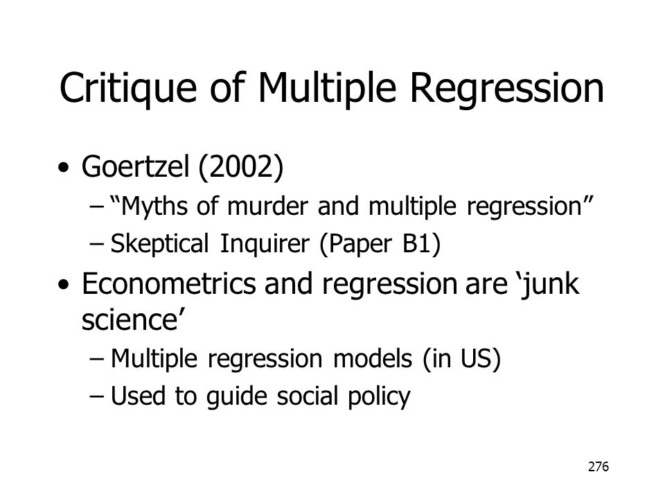 Critique of Multiple Regression