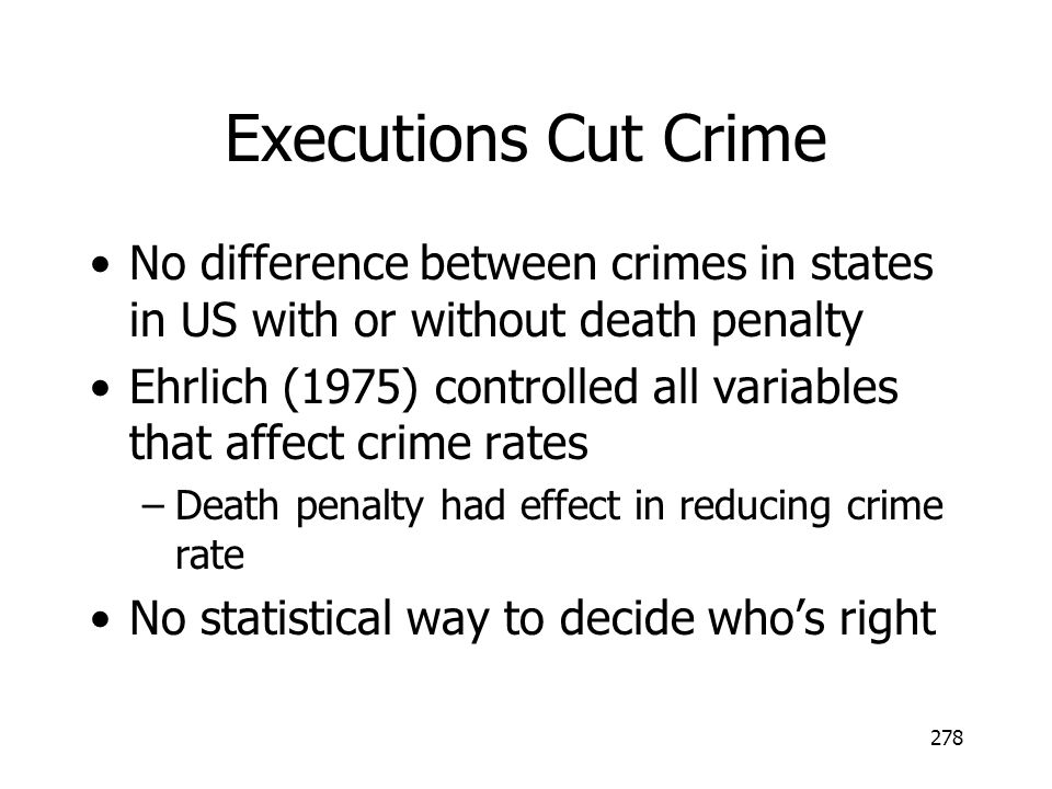 Executions Cut Crime No difference between crimes in states in US with or without death penalty.