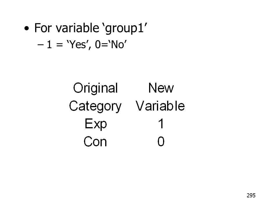 For variable 'group1' 1 = 'Yes', 0='No'