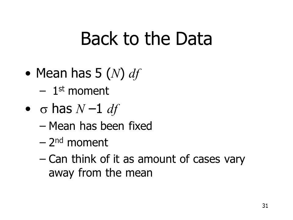 Back to the Data Mean has 5 (N) df s has N –1 df 1st moment