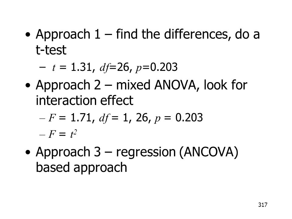 Approach 1 – find the differences, do a t-test