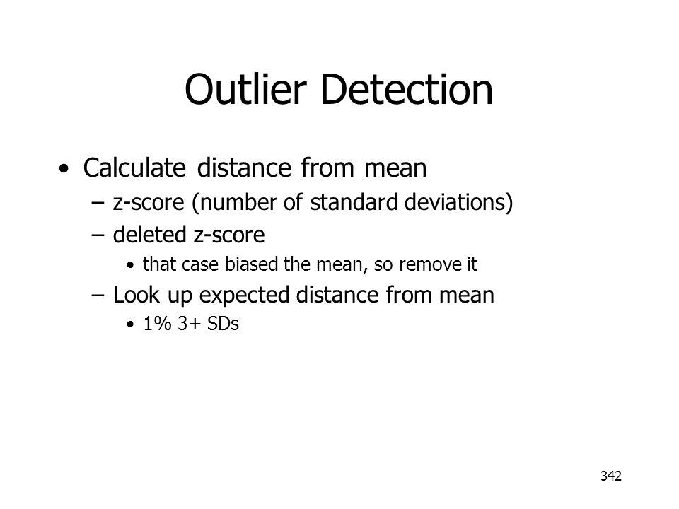 Outlier Detection Calculate distance from mean