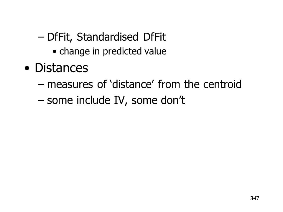 Distances DfFit, Standardised DfFit