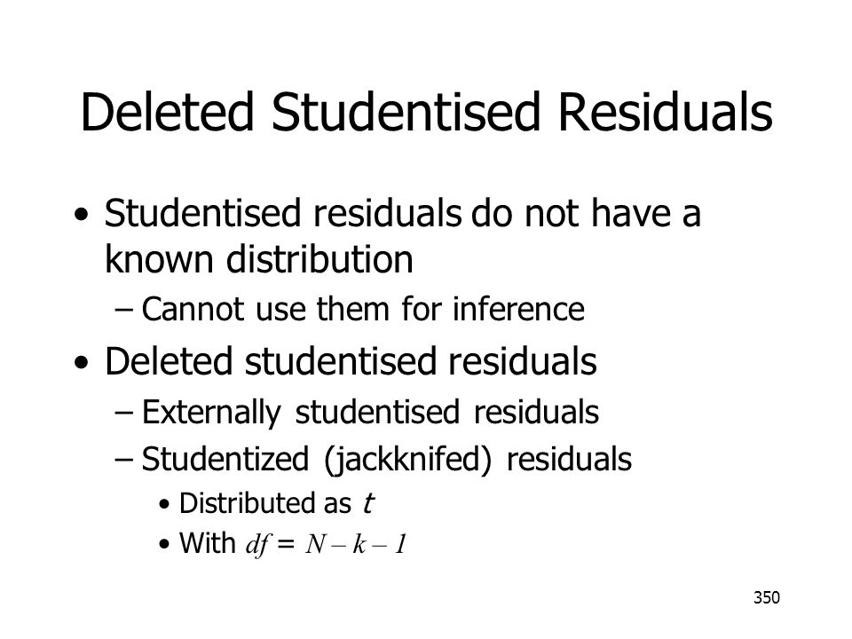 Deleted Studentised Residuals