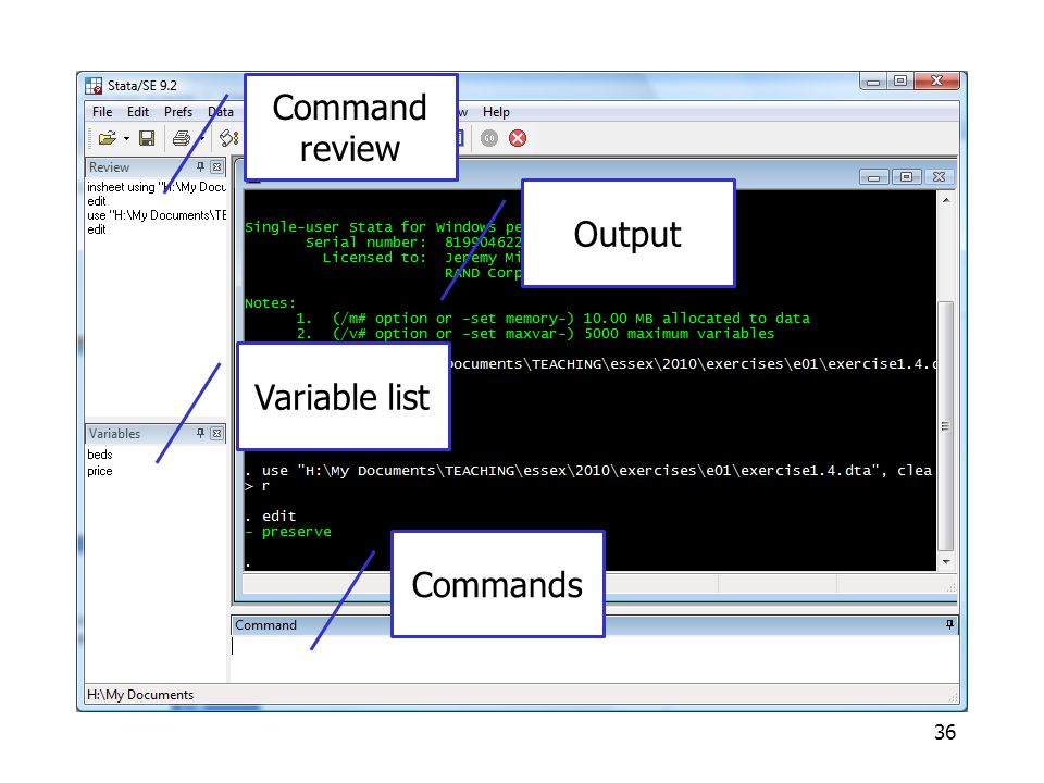 Commands Command review Output Variable list Commands