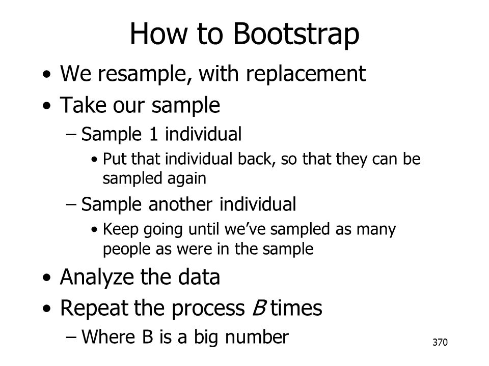 How to Bootstrap We resample, with replacement Take our sample