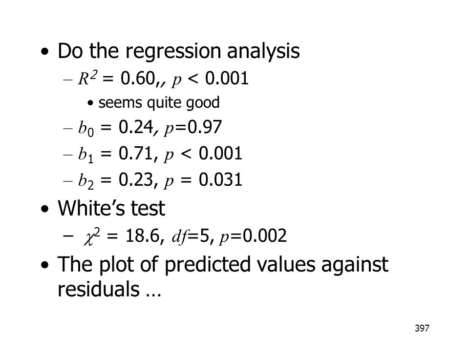 Do the regression analysis