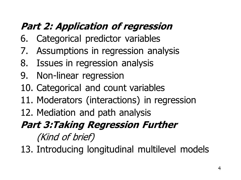 Part 2: Application of regression