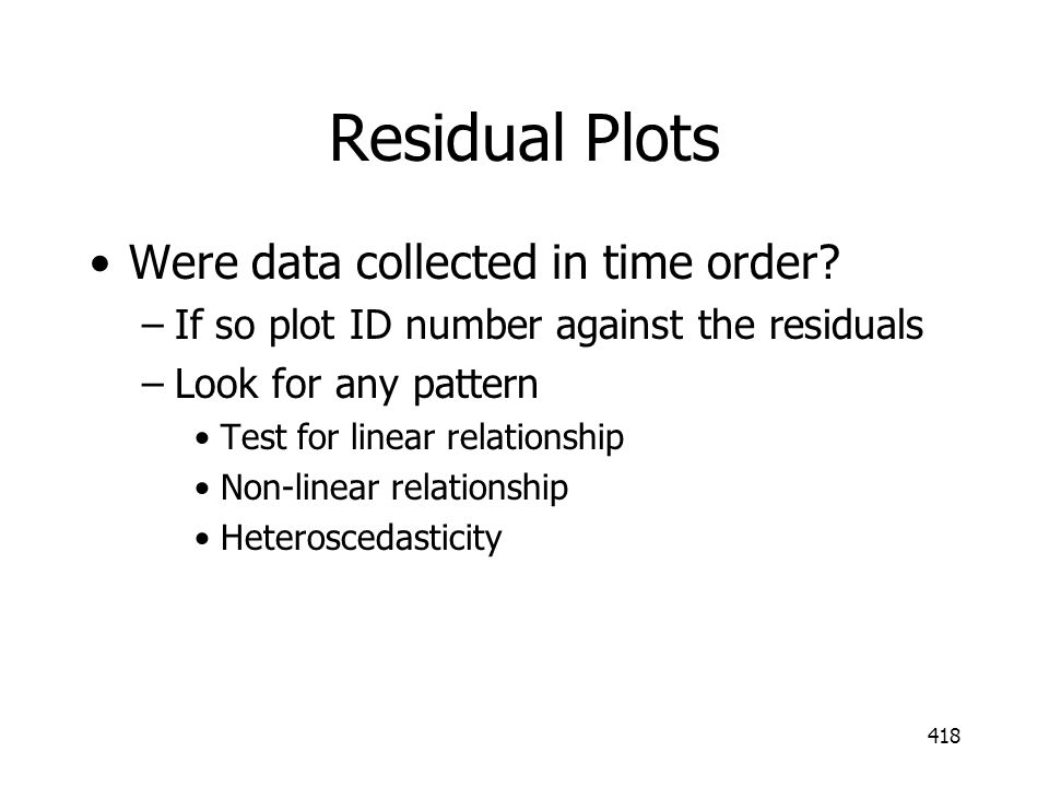 Residual Plots Were data collected in time order