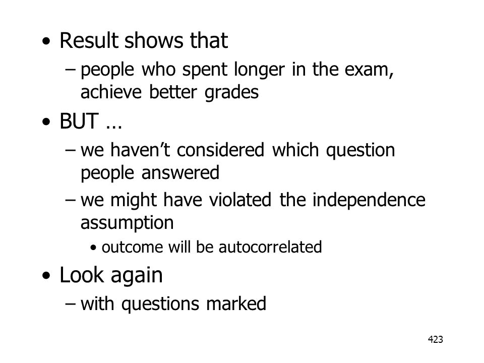 Result shows that BUT … Look again