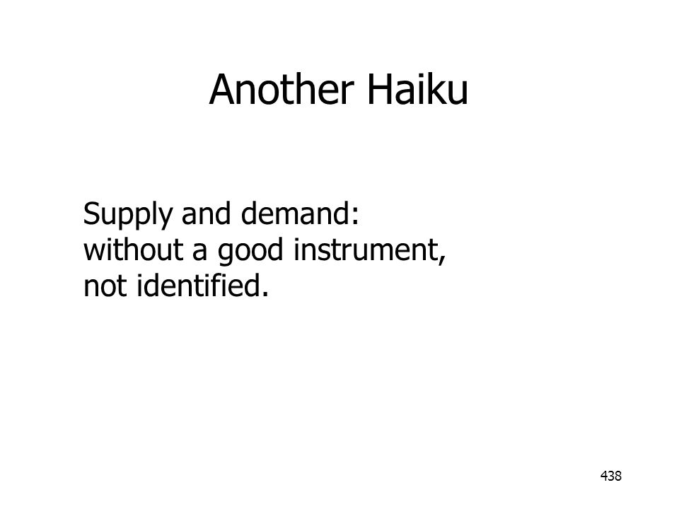 Another Haiku Supply and demand: without a good instrument, not identified.