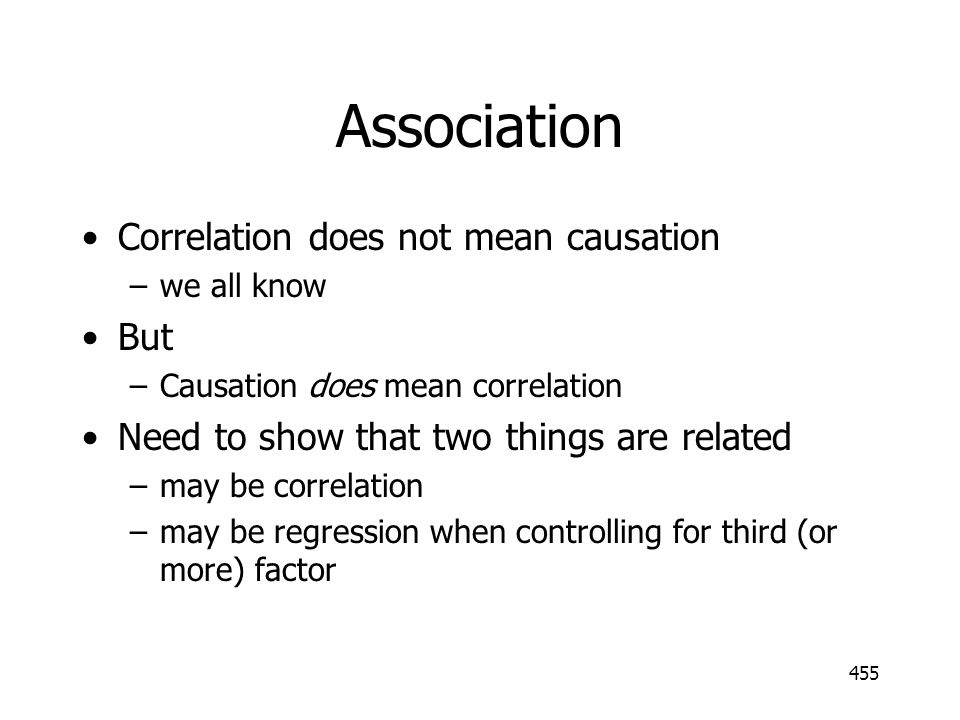 Association Correlation does not mean causation But