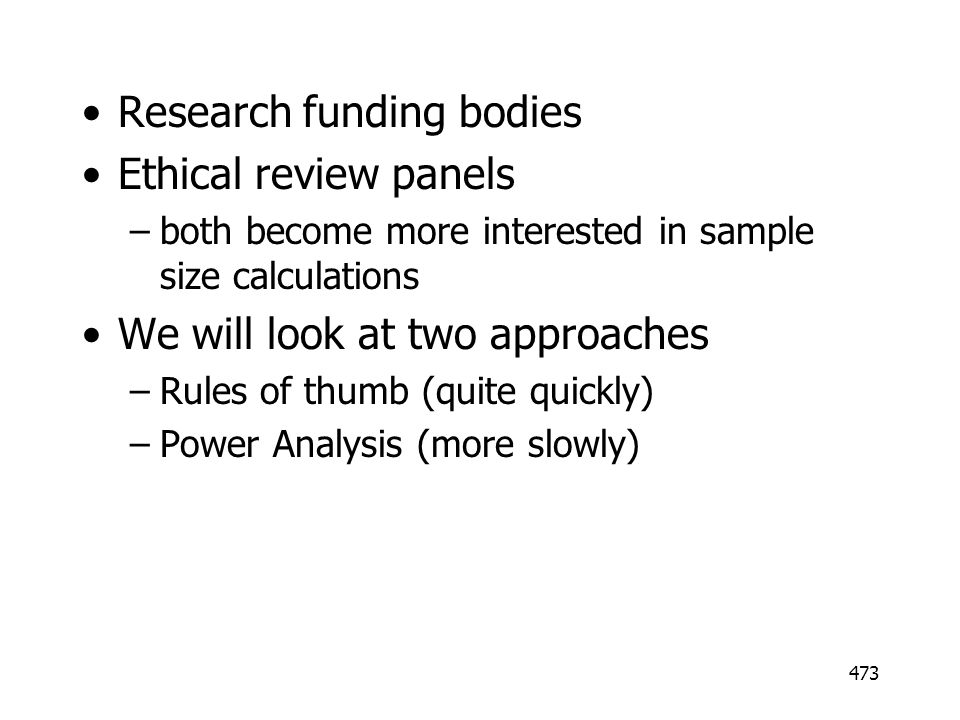 Research funding bodies Ethical review panels