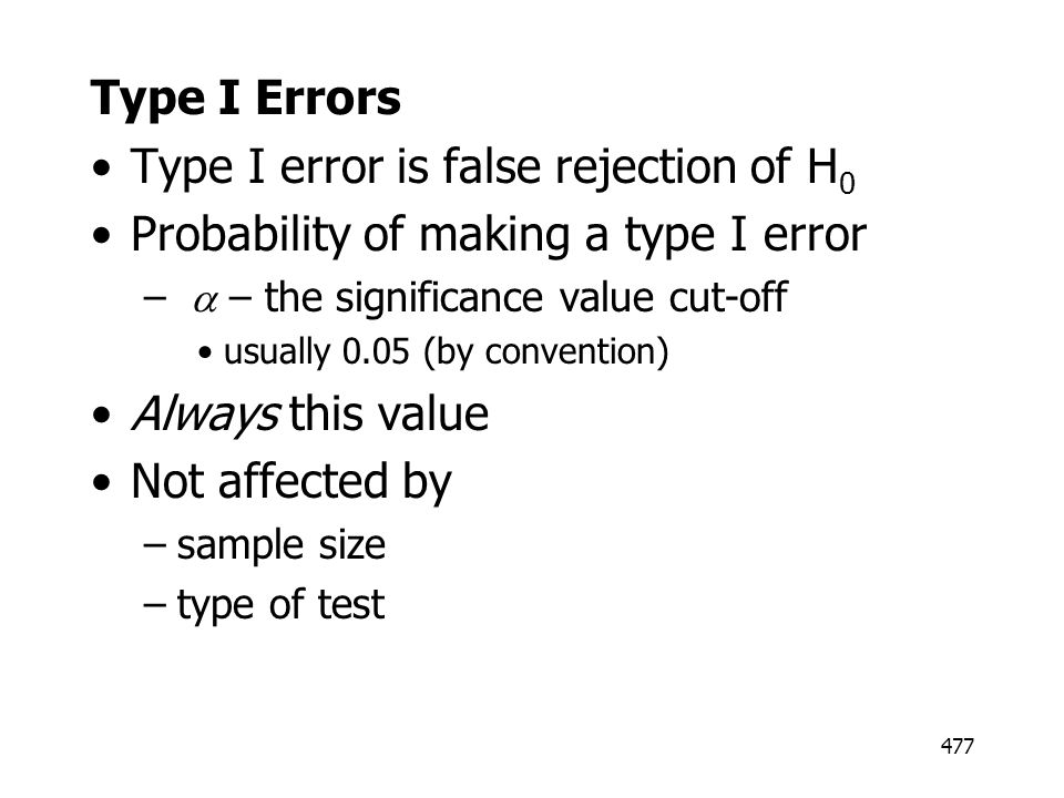 Type I error is false rejection of H0