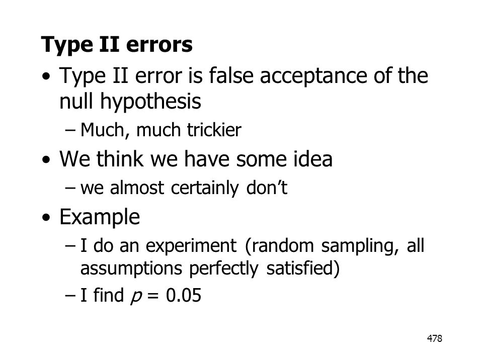 Type II error is false acceptance of the null hypothesis