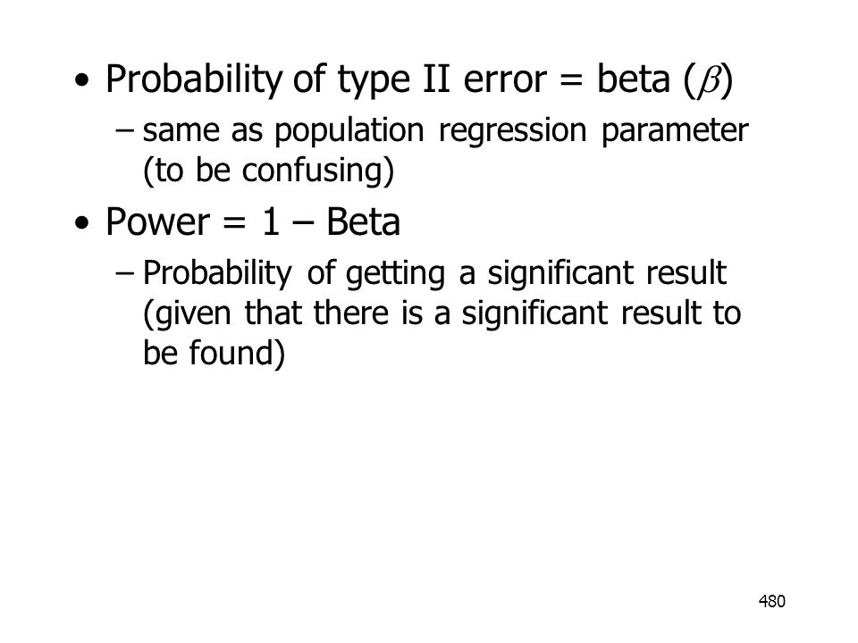 Probability of type II error = beta (b)