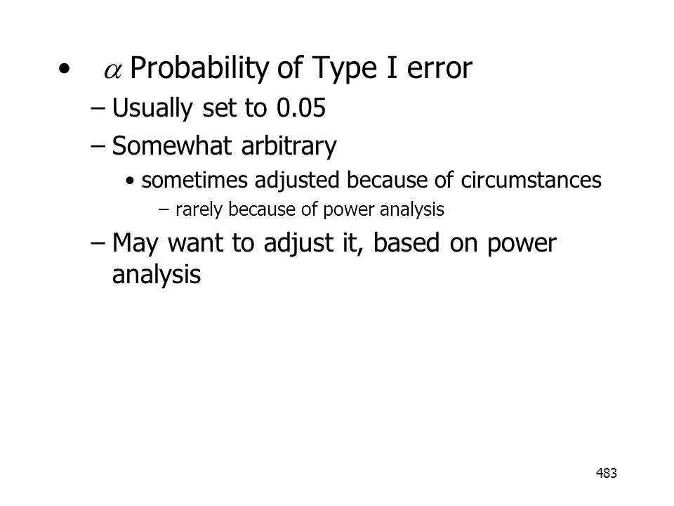 a Probability of Type I error