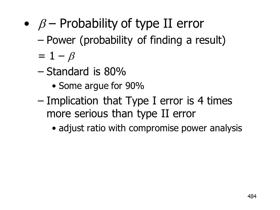 b – Probability of type II error