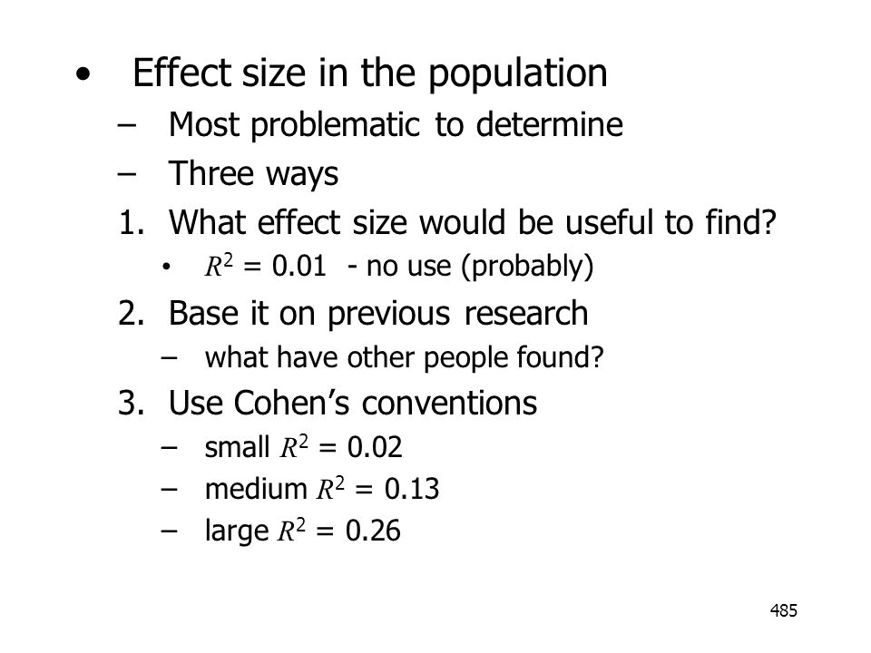 Effect size in the population