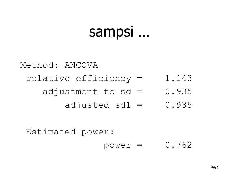 sampsi … Method: ANCOVA relative efficiency = 1.143