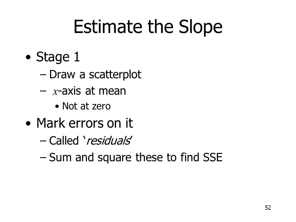 Estimate the Slope Stage 1 Mark errors on it Draw a scatterplot