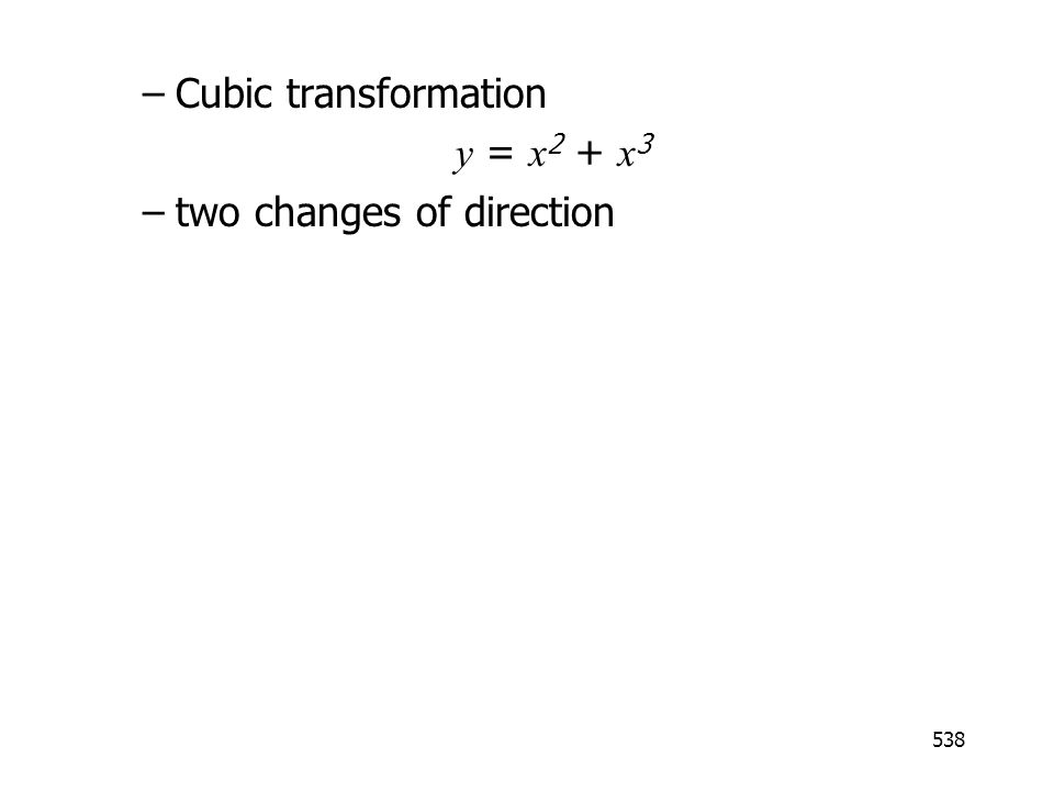 Cubic transformation y = x2 + x3 two changes of direction