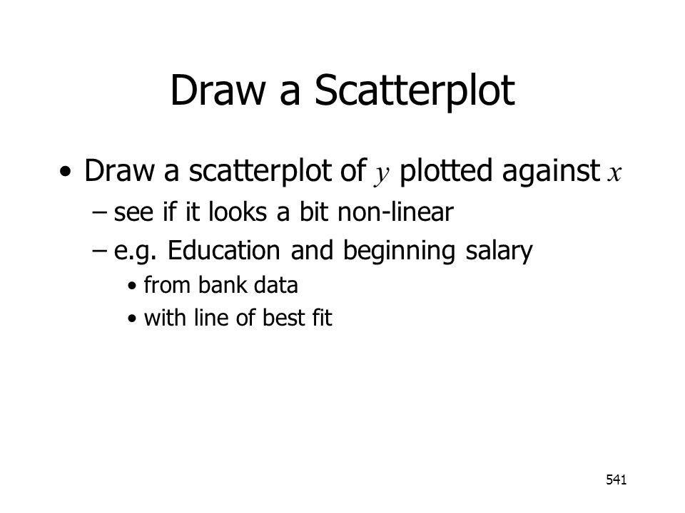 Draw a Scatterplot Draw a scatterplot of y plotted against x