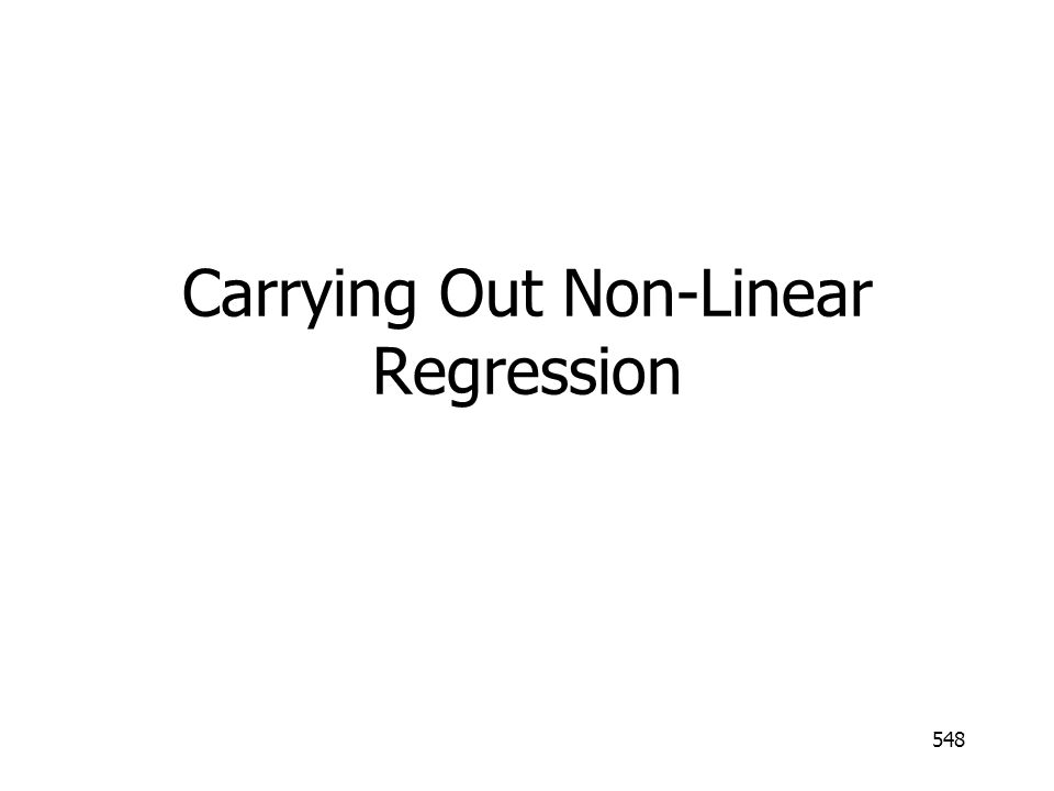 Carrying Out Non-Linear Regression